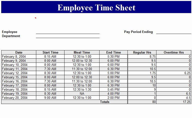 Work Time Sheet Template Fresh Employee Time Sheet Template My Excel Templates