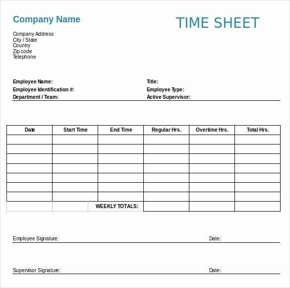Work Time Sheet Template Inspirational 22 Employee Timesheet Templates – Free Sample Example