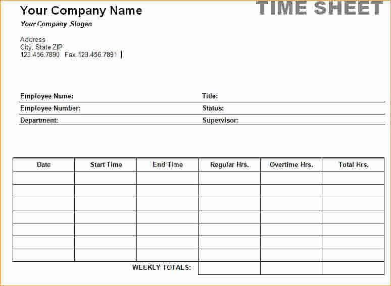 Work Time Sheet Template New 4 Employee Timesheet