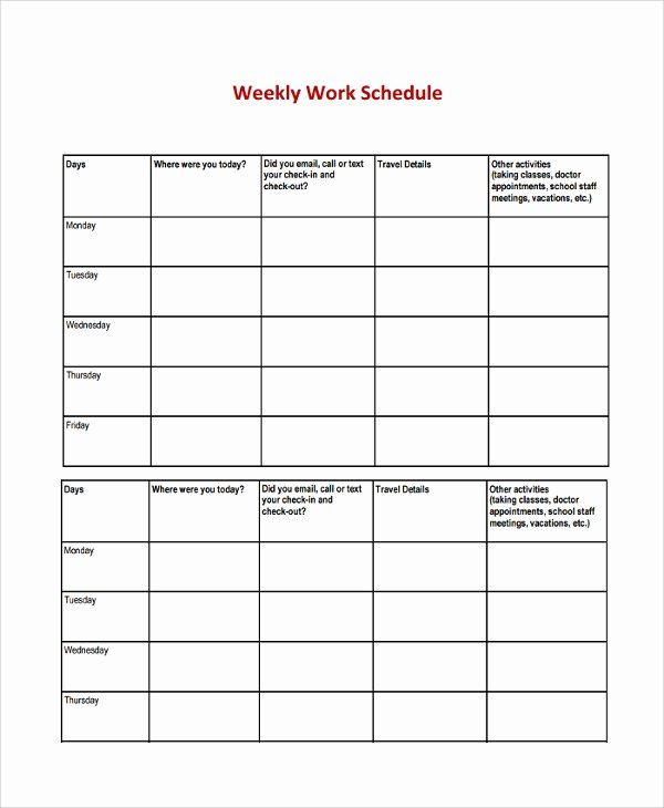 Work Week Schedule Template Beautiful 8 Weekly Work Schedule Templates