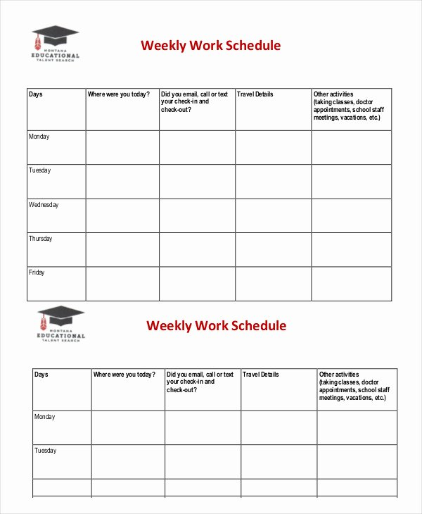 Work Week Schedule Template Beautiful Weekly Schedule Template 10 Free Word Excel Pdf