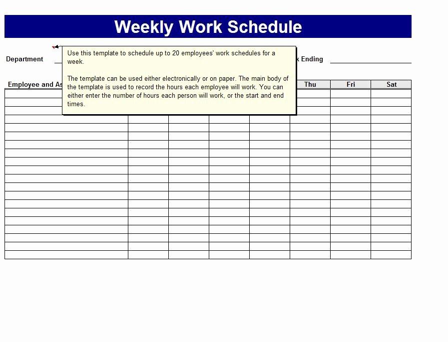 Work Week Schedule Template Beautiful Weekly Work Schedule Template