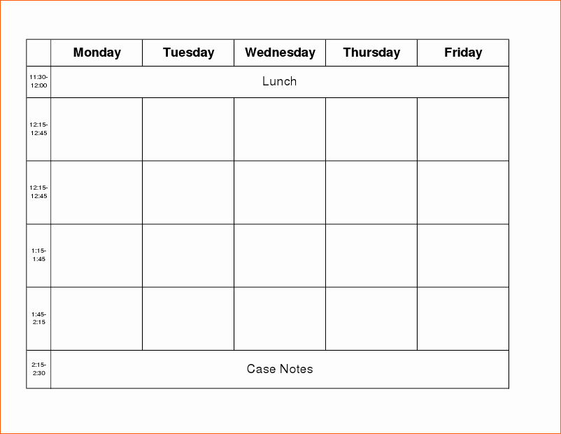 Work Week Schedule Template Elegant 9 Work Week Calendar Template