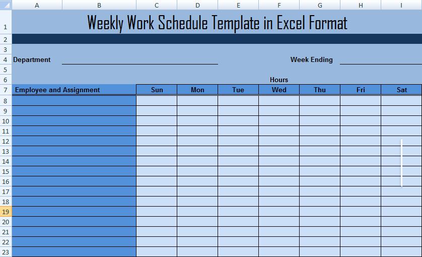 Work Week Schedule Template Elegant Weekly Work Schedule Template In Excel format