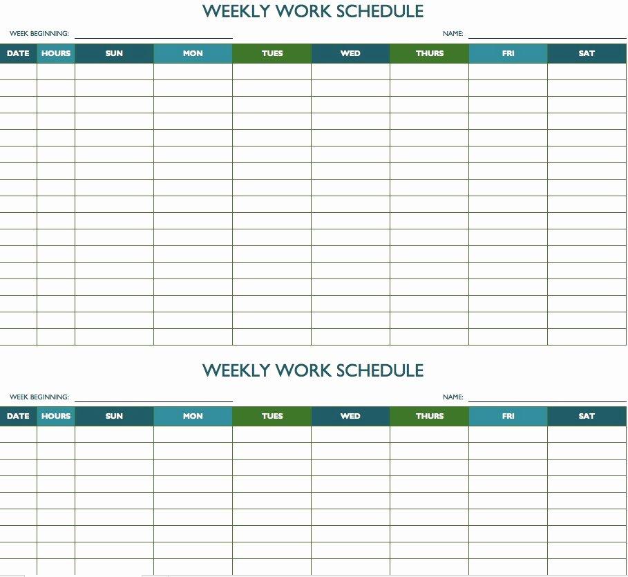 Work Week Schedule Template Fresh Free Weekly Schedule Templates for Excel Smartsheet