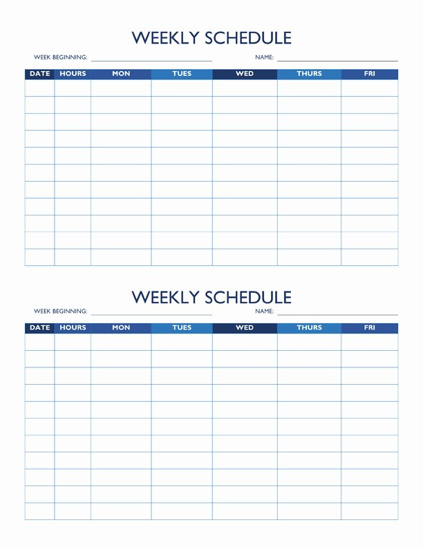 Work Week Schedule Template Lovely Free Work Schedule Templates for Word and Excel
