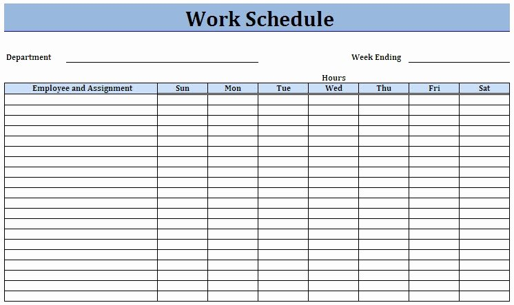 Work Week Schedule Template Lovely Weekly Work Schedule Template