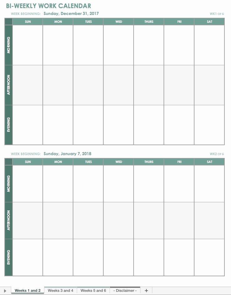 Work Week Schedule Template Luxury Free Excel Calendar Templates