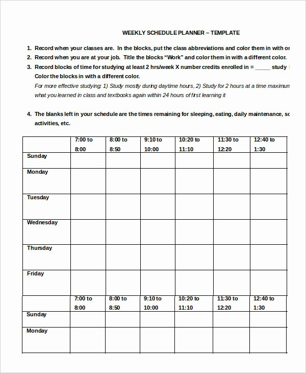 Work Week Schedule Template Unique Work Schedule 11 Free Word Excel Pdf Documents