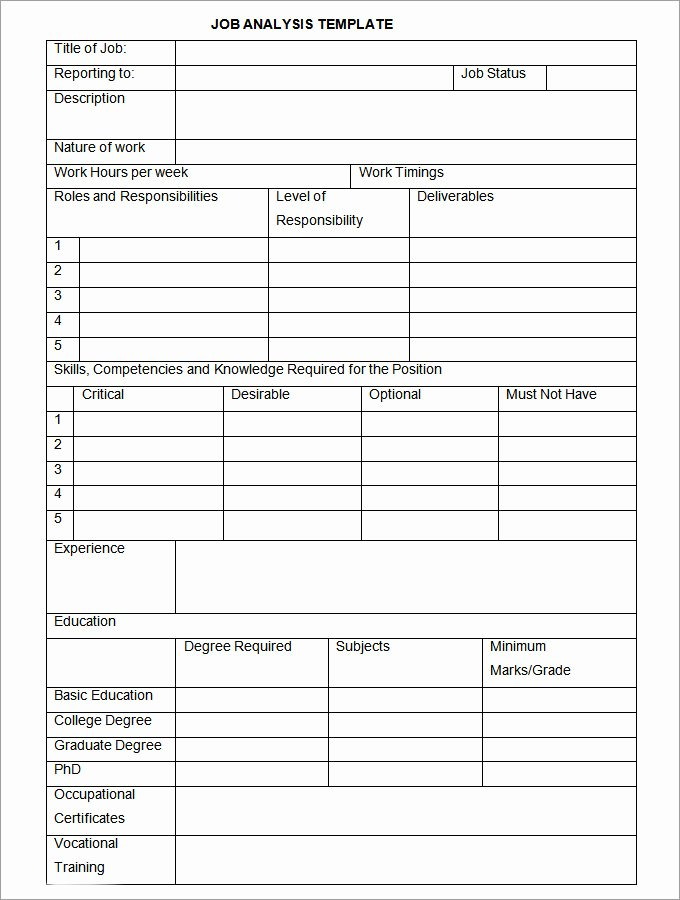 Workload Analysis Excel Template Best Of Job Analysis Template 12 Free Word Excel Documents