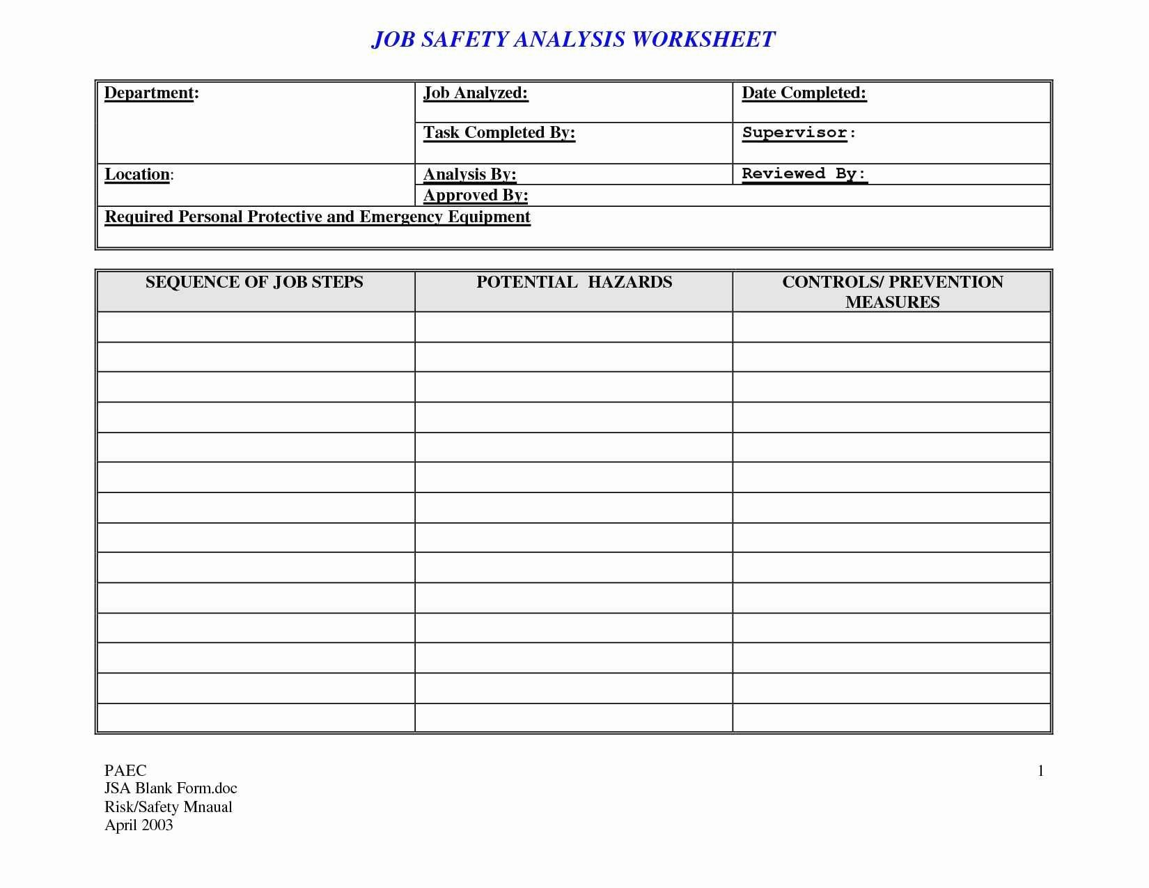 Workload Analysis Excel Template Lovely Job Hazard Analysis Template Excel Unique Cost Analysis
