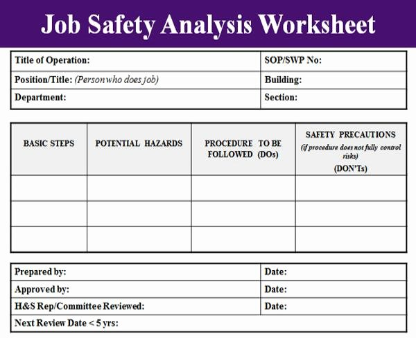 Workload Analysis Excel Template Lovely Job Safety Analysis Template