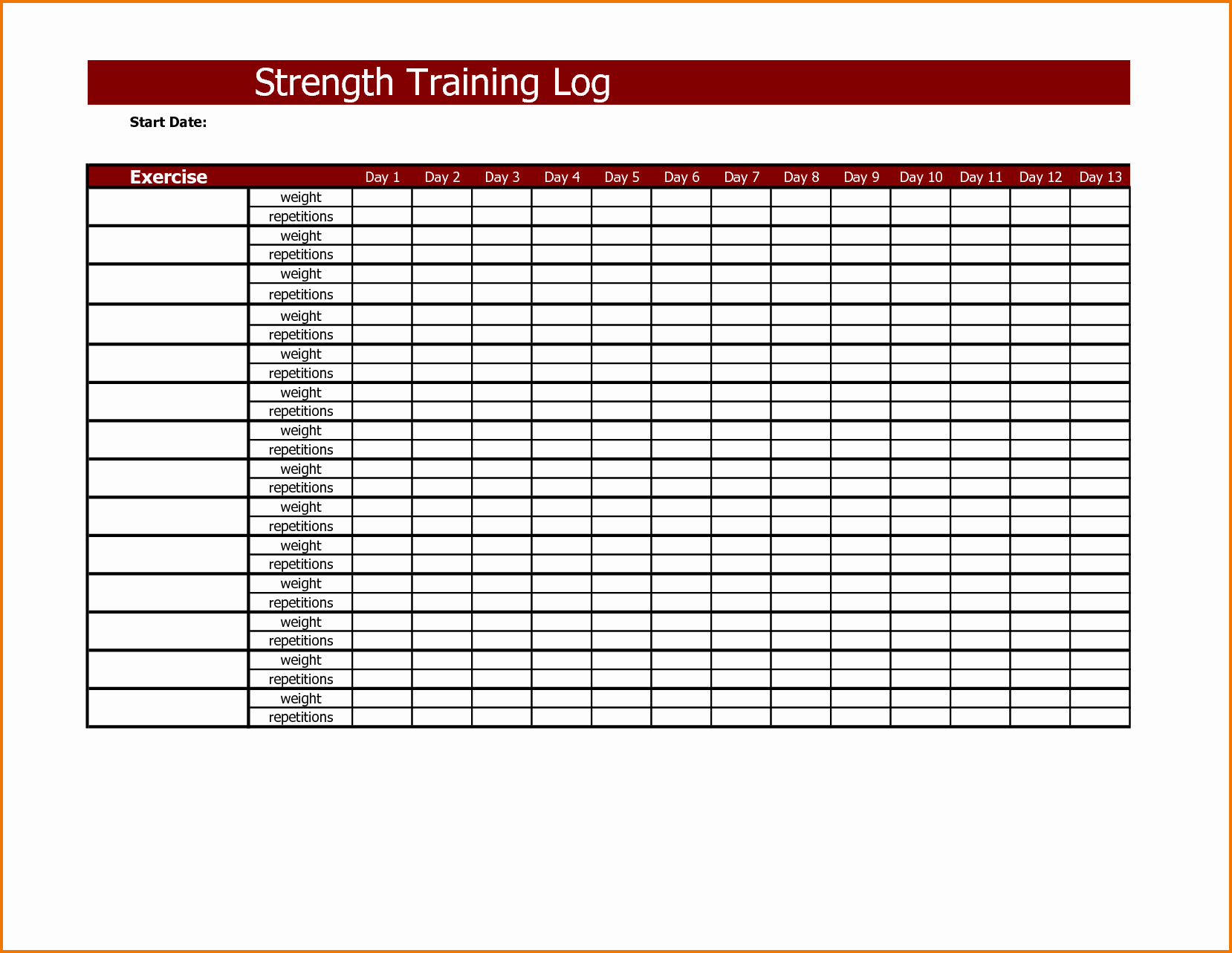 Workout Log Template Excel Beautiful Workout Training Log Excel Template