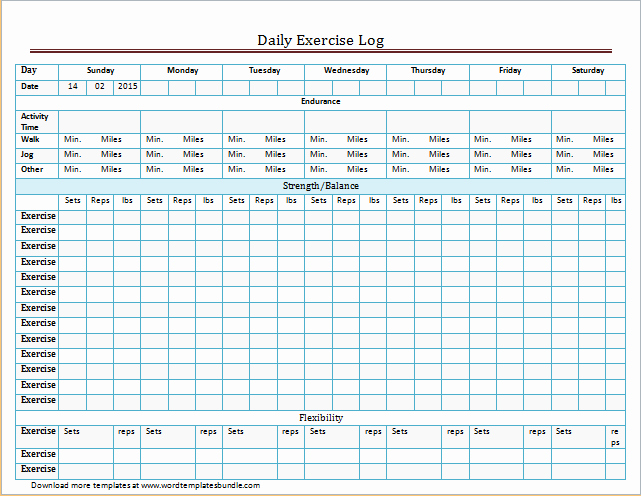 exercise and meal log templates