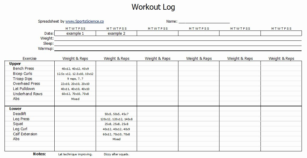 Workout Log Template Excel Elegant Free Workout Log Template Sports Science