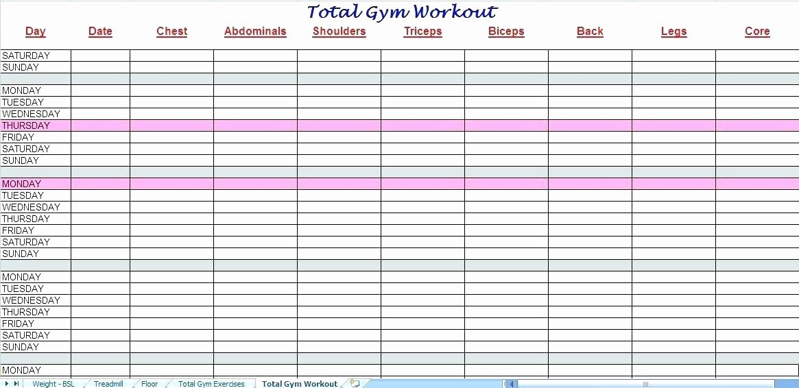 Workout Log Template Excel Fresh Exercise Sheet Template Latex Printable Weekly Workout Log