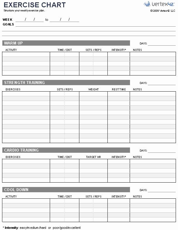 Workout Log Template Excel Fresh Free Exercise Chart or Ms Excel Use This Template to