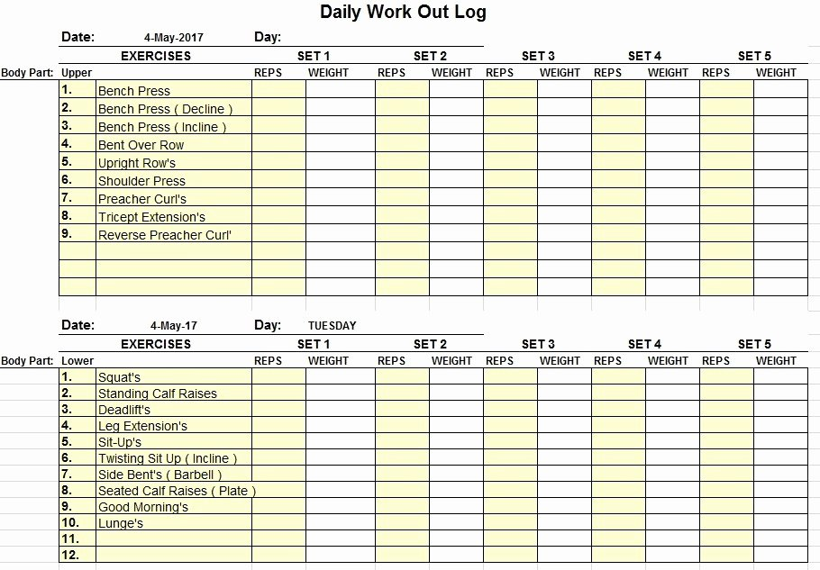 Workout Log Template Excel Lovely 11 Free Sample Workout Log Templates Printable Samples