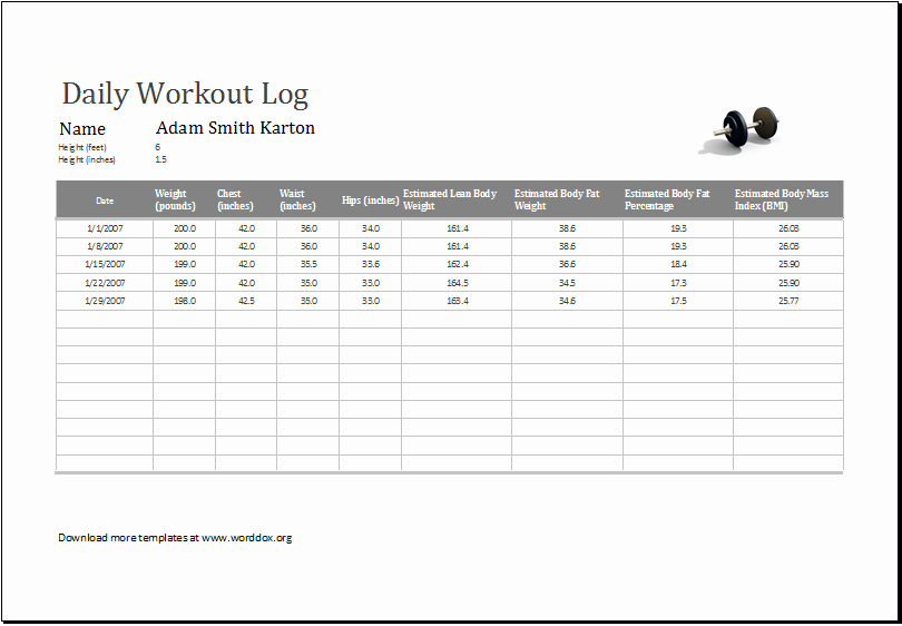 Workout Log Template Excel Lovely Daily Workout Log Ms Excel Editable Printable Template