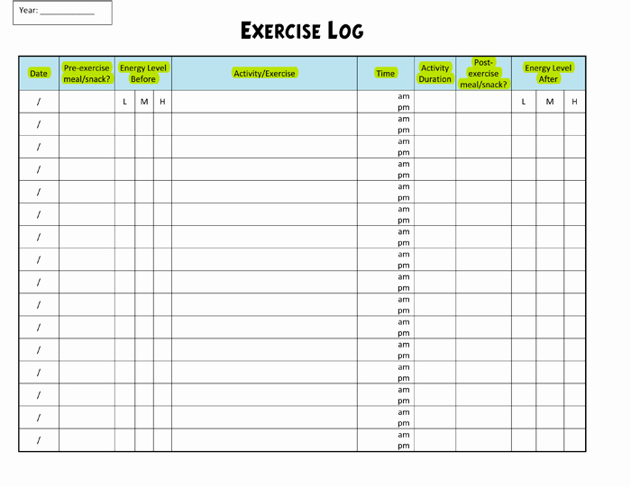 Workout Log Template Excel New Exercise Log Template 8 Plus Training Sheets