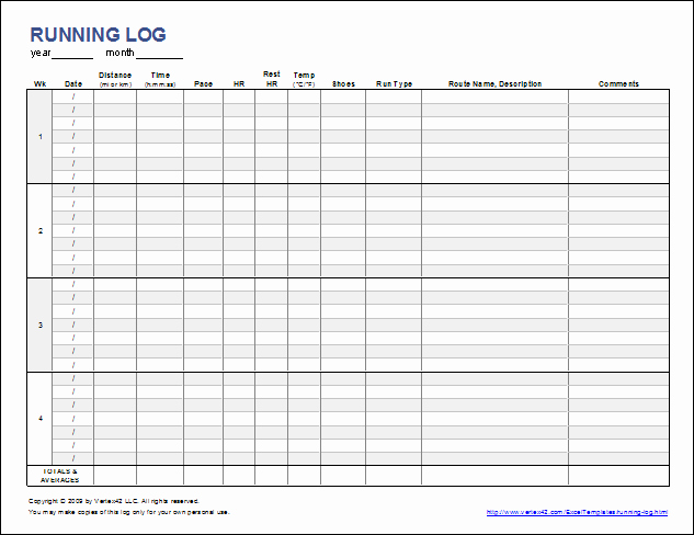 Workout Log Template Excel New Free Printable Running Log or Walking Log Template for Excel