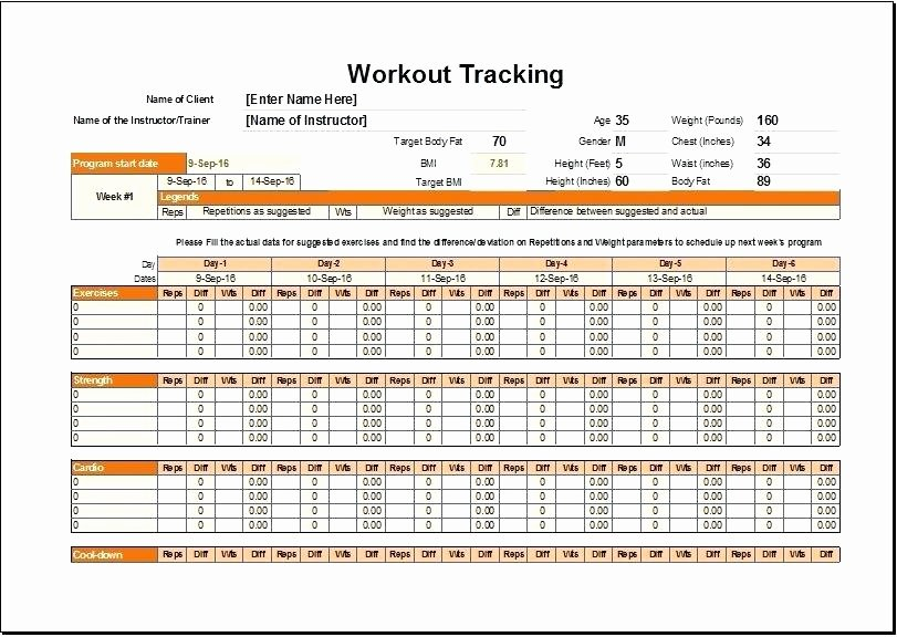 Workout Log Template Excel Unique Workout Template Excel Awesome Exercise Chart Templates