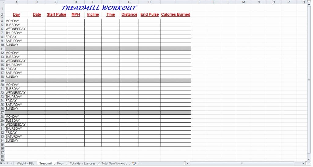 Workout Plan Template Excel Awesome total Gym Workout Plan Spreadsheet