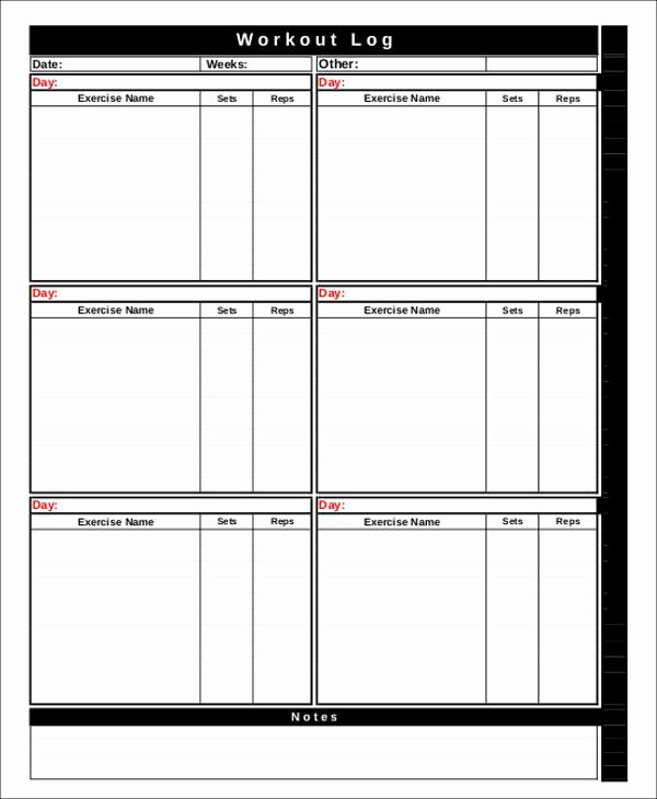 Workout Plan Template Excel New Workout Chart Templates 8 Free Word Excel Pdf