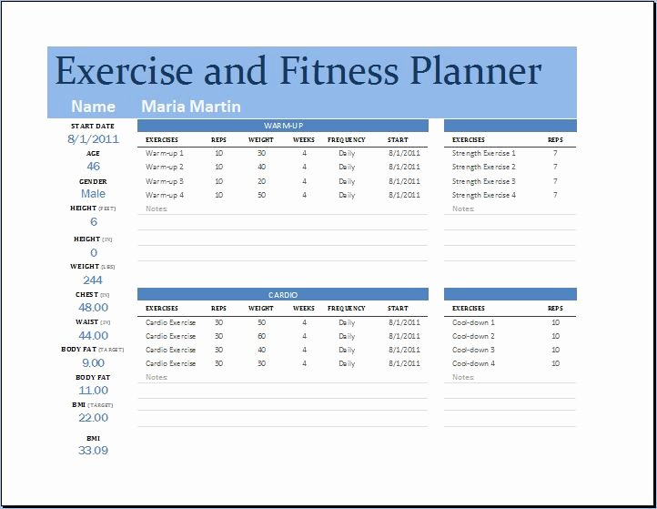 Workout Plan Template Excel Unique Exercise and Fitness Planner – Word & Excel Templates