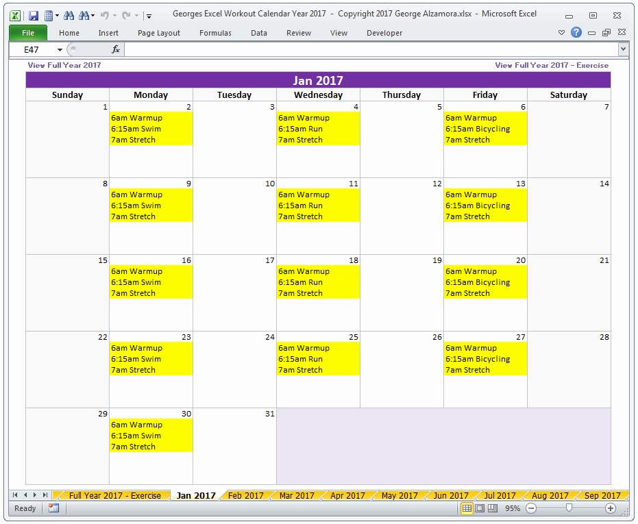 Workout Schedule Template Excel Best Of Calendar Year 2017 Excel Fitness Calendar Template