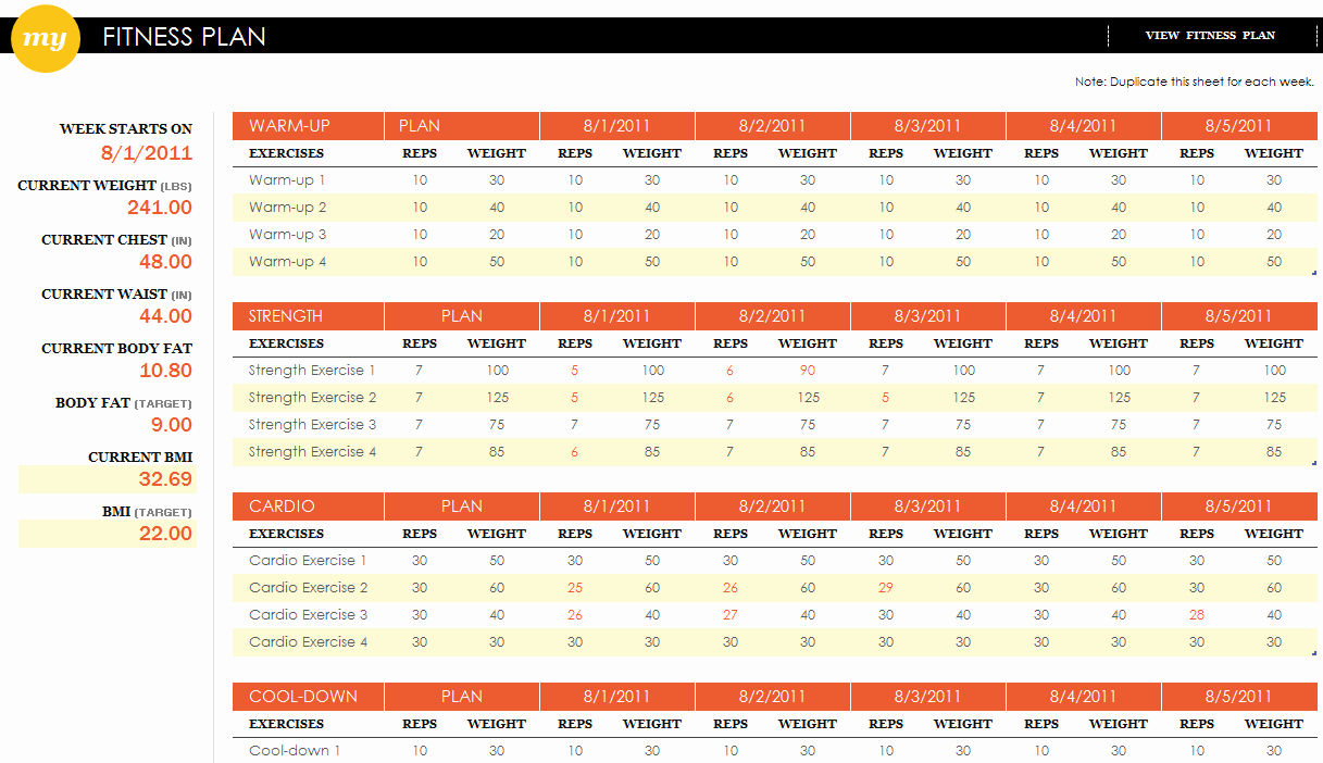 Workout Schedule Template Excel Best Of Fitness Plan Excel Template