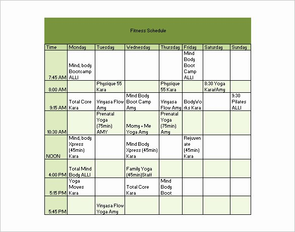 Workout Schedule Template Excel Lovely 22 Workout Schedule Templates Pdf Doc