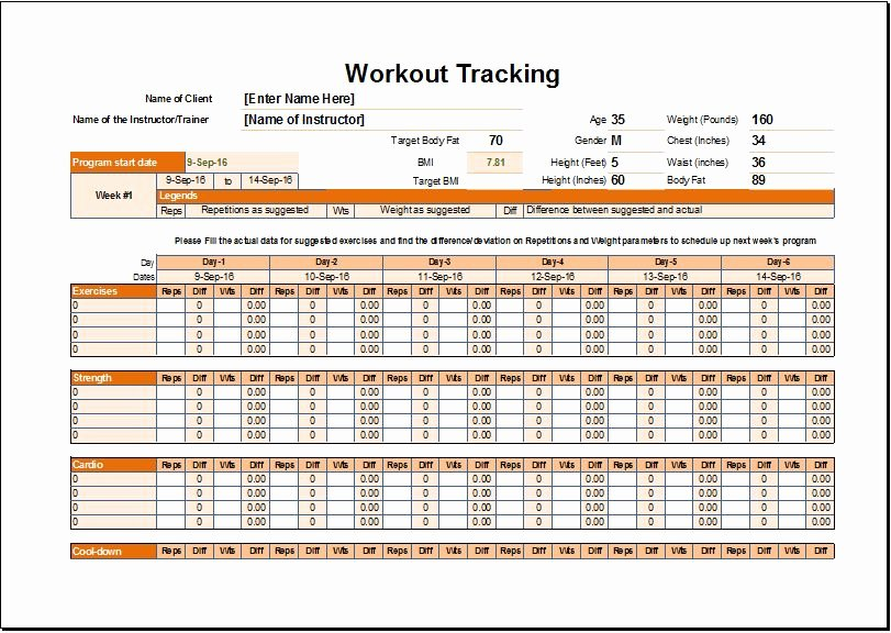 Workout Schedule Template Excel Lovely Workout Schedule & Tracker Template for Excel