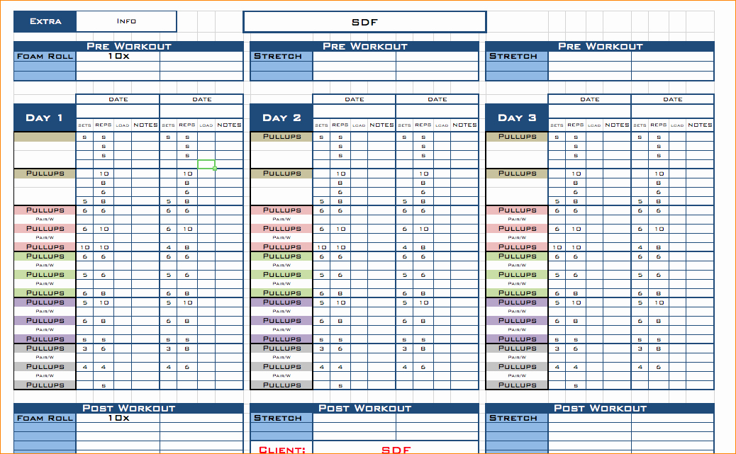 Workout Spreadsheet Excel Template Fresh Free Excel Workout Template Workout Excel Template