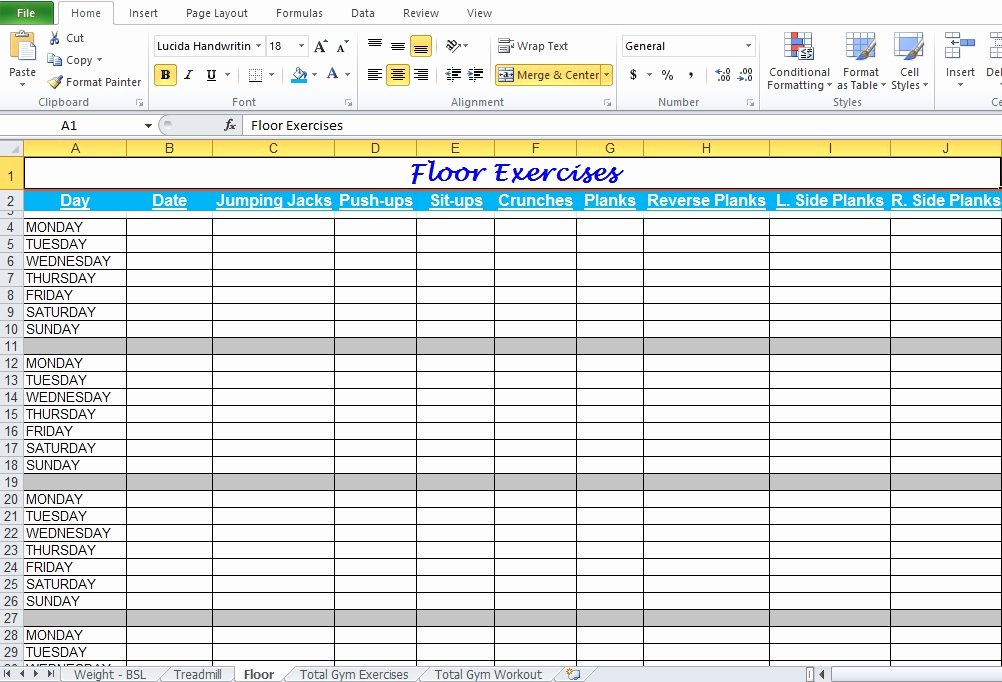 Workout Spreadsheet Excel Template Fresh Gym Workout Plan Spreadsheet for Excel Excel Tmp