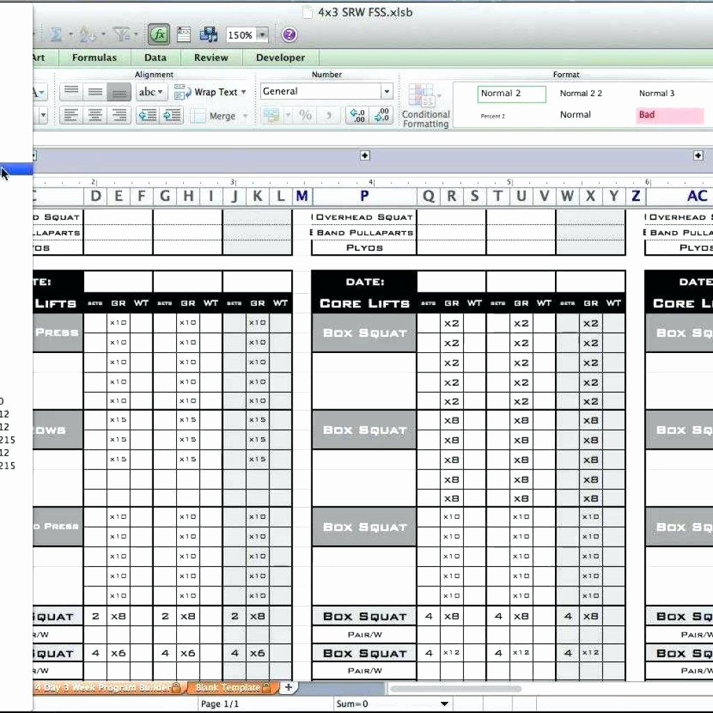 Workout Spreadsheet Excel Template Inspirational 8×8 Workout Template