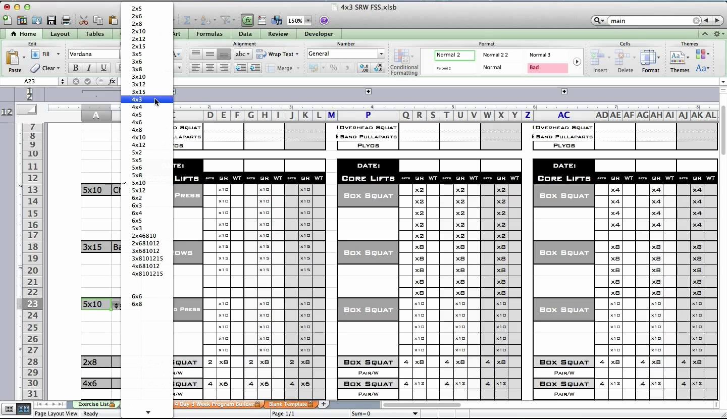 Workout Spreadsheet Excel Template Lovely Workout Template Excel