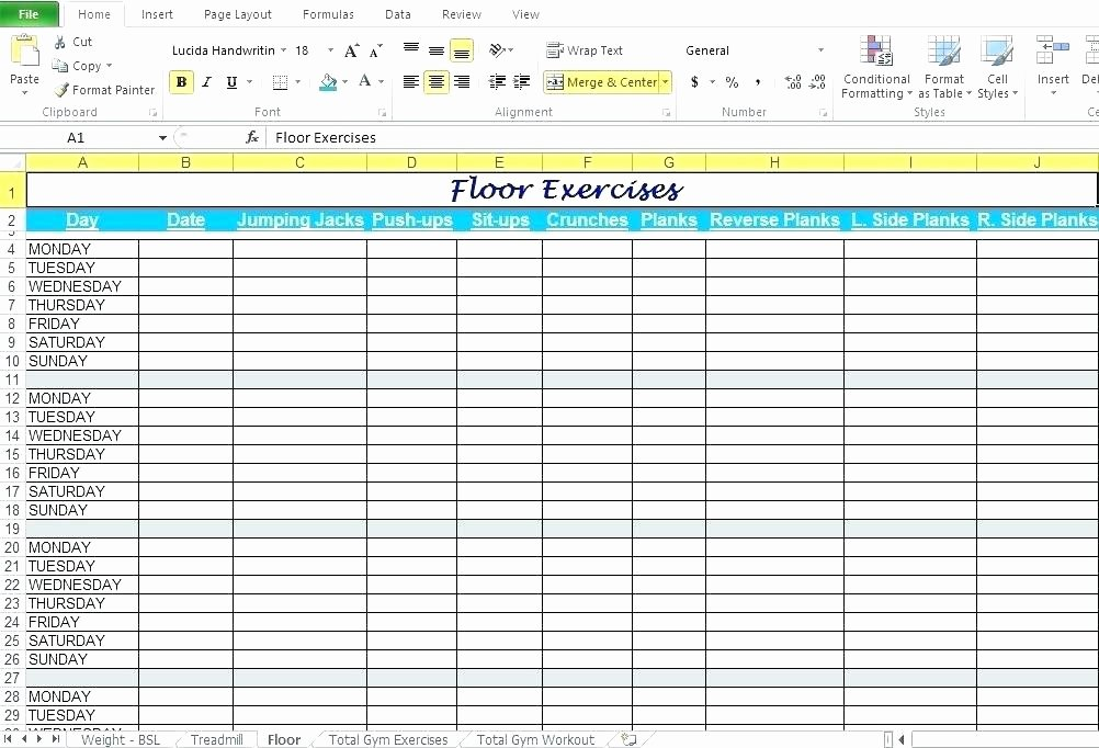 Workout Spreadsheet Excel Template Luxury Printable Training Sign In Sheet Template Workout Log