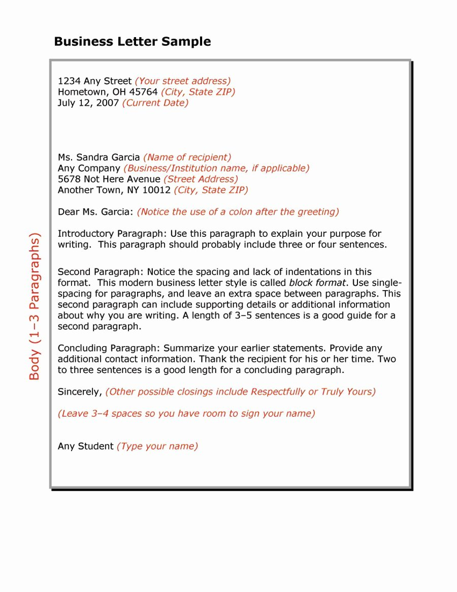 Writing A Business Letter Template Best Of 35 formal Business Letter format Templates & Examples