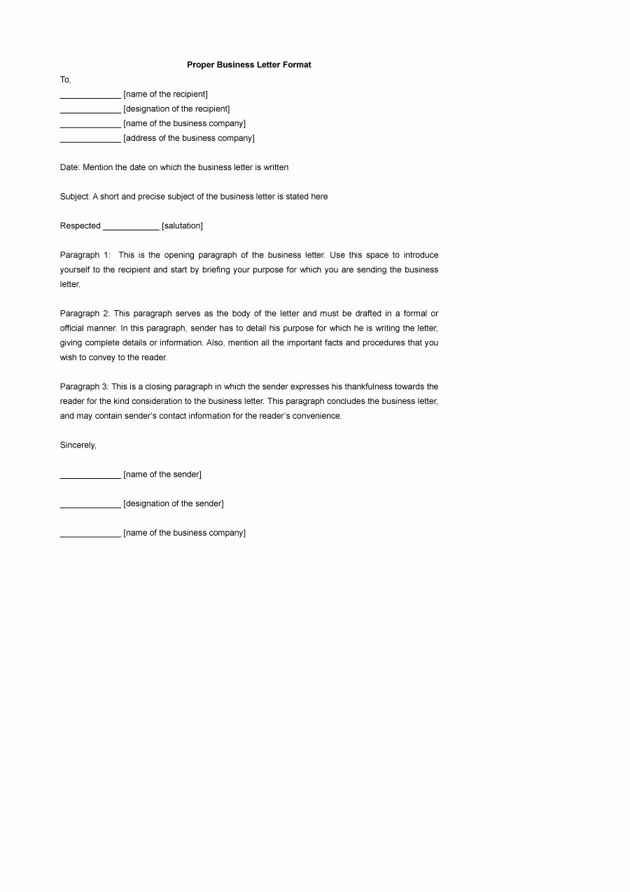 Writing A Business Letter Template Elegant 35 formal Business Letter format Templates & Examples