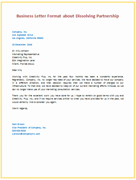 Writing A Business Letter Template Fresh 6th Business Letter format About Dissolving Partnership