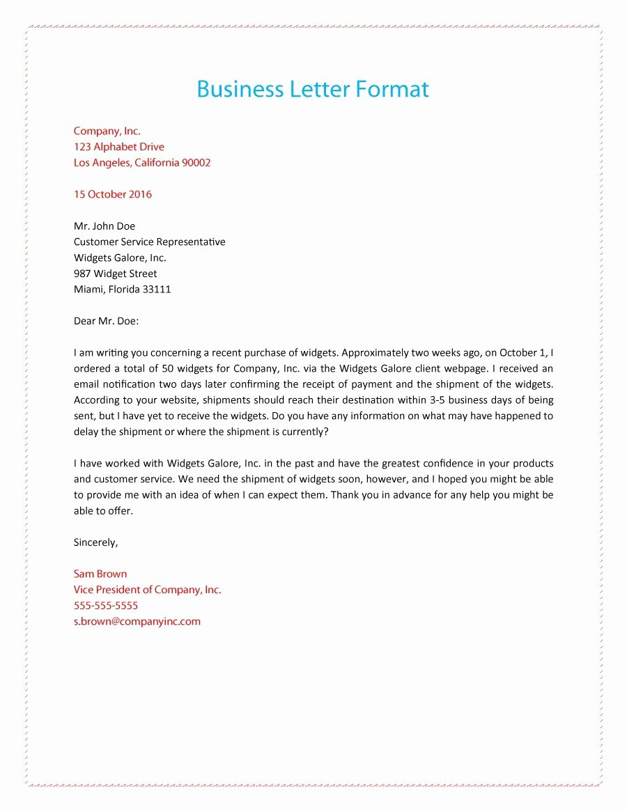 Writing A Business Letter Template Inspirational 35 formal Business Letter format Templates & Examples
