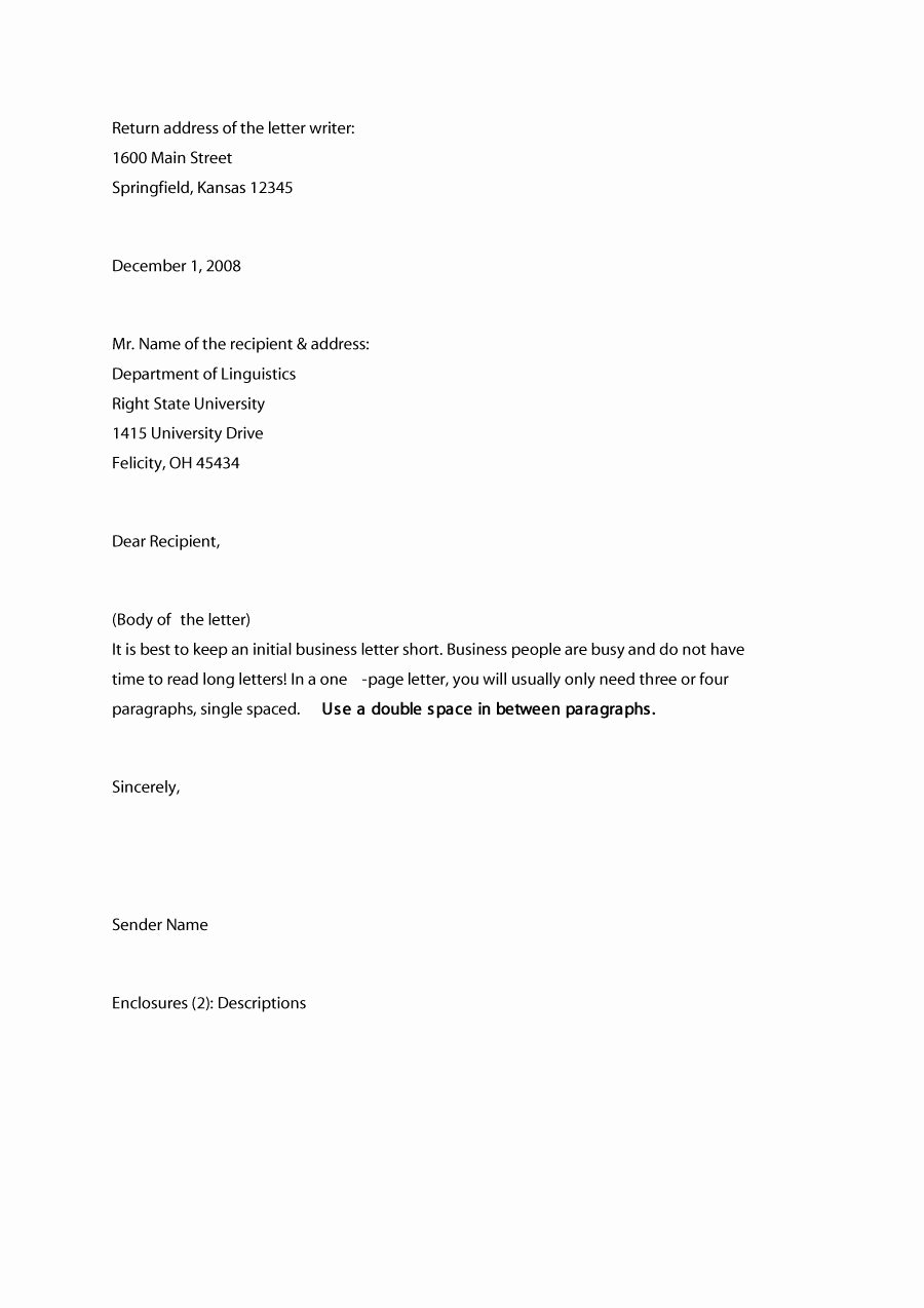Writing A Business Letter Template New 35 formal Business Letter format Templates & Examples
