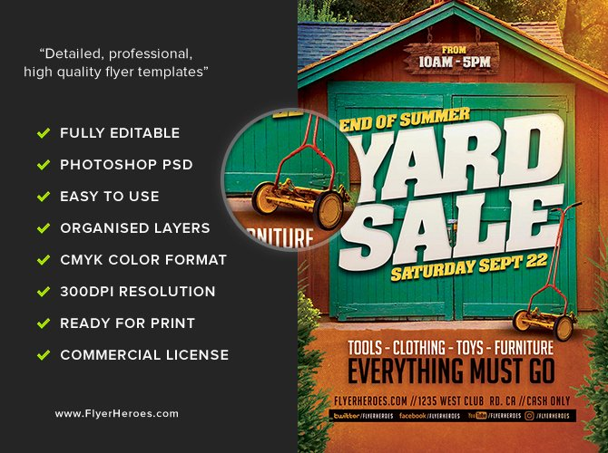 Yard Sale Flyer Template Awesome End Summer Yard Sale Flyer Template Flyerheroes