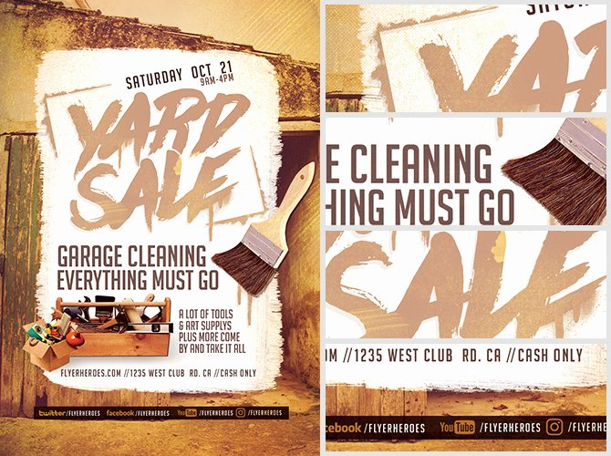 Yard Sale Flyer Template Awesome Spruce It Up Yard Sale Flyer Template Flyerheroes