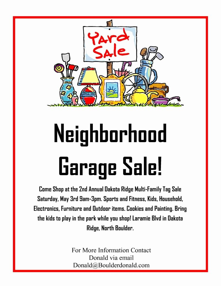 Yard Sale Flyer Template Beautiful Dakota Ridge Munity Garage Sale May 3rd 2014