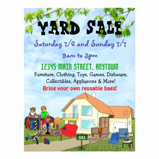 Yard Sale Flyer Template Best Of Custom Yard or Garage Sale Flyers