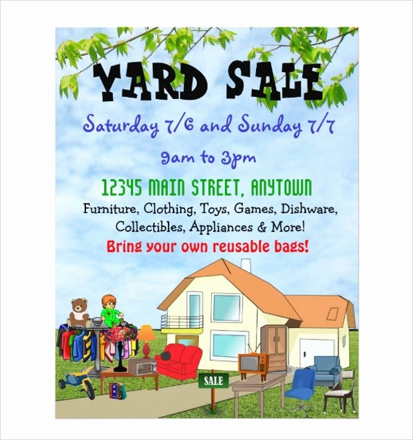Yard Sale Flyer Template Elegant 27 Yard Sale Flyer Templates