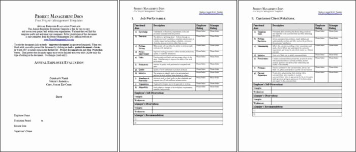 Year End Review Template Fresh Employee Evaluation Template Pdf Templates Resume