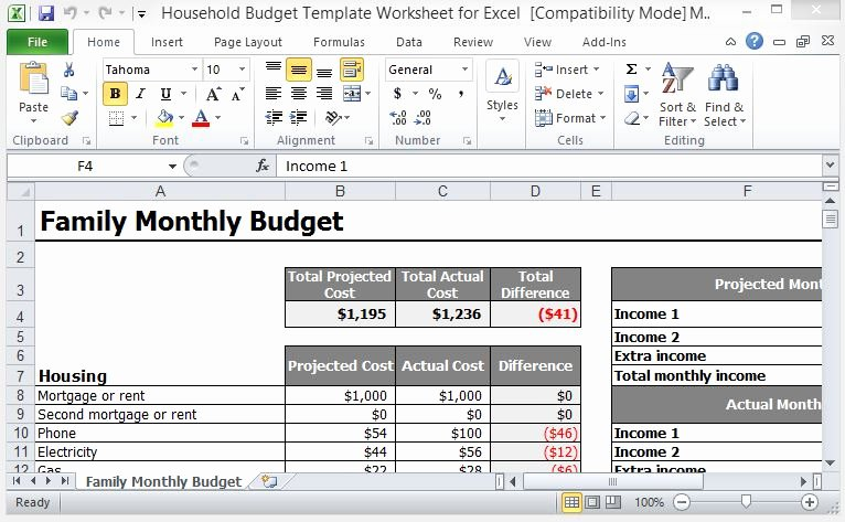 Yearly Budget Template Excel Free Elegant Household Bud Template Worksheet for Excel